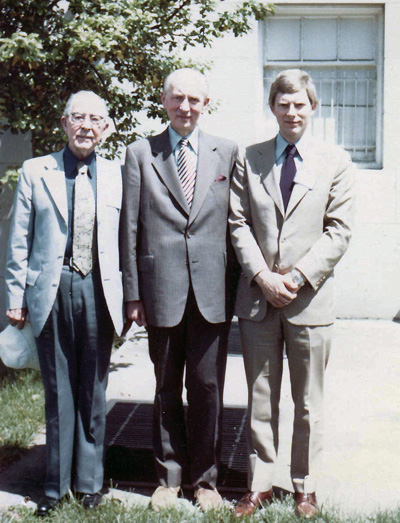photo with Montesquieu scholars Paul Spurlin (left) and Robert Shackleton (center) with myself on the right, circa 1980